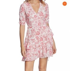 1.STATE ruffled wrap dress pink floral print